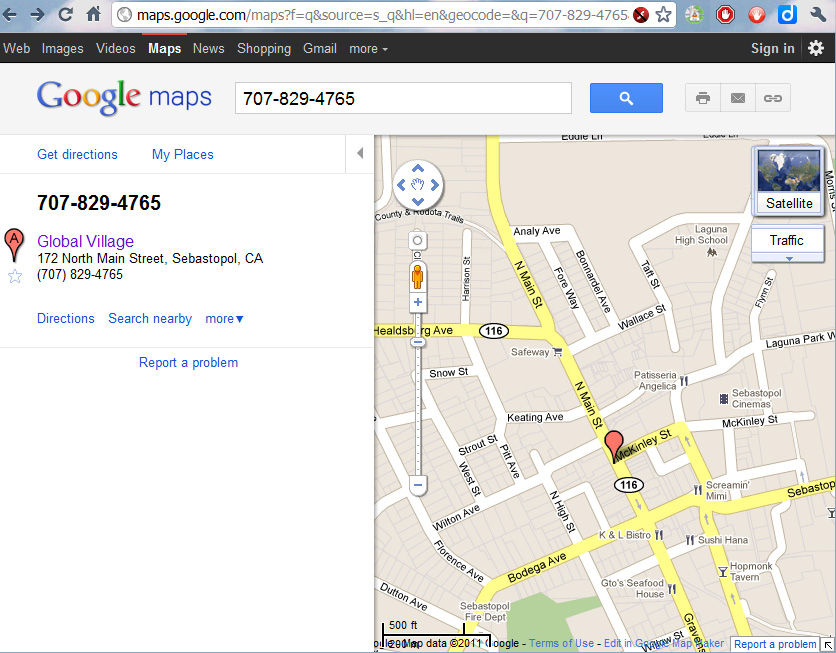 Search results on Google Map for a phone number