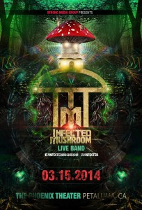 Poster of Infected Mushroom's concert at the Phoenix, Petaluma, California - March 15, 2014