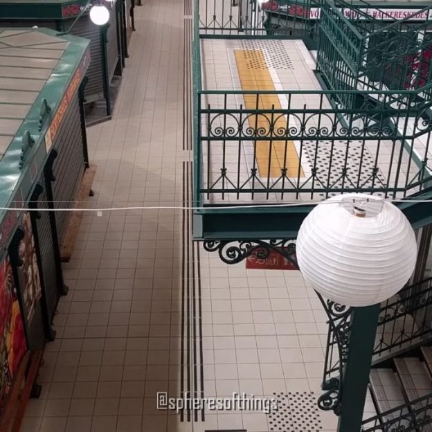 Sphere #145: The lampshades are still spherical at this market even during at an (almost) lockdown